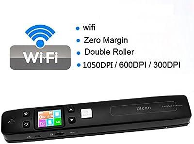 KKmoon iScan Portátil Escáner Digital Inalámbrico de Wifi de Documentos/Libros/Fotos con Margen de Doble Cero 1050DPI JPG / Tarjeta de TF Formato PDF