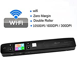 1st choice iScan Wireless Wifi Portable Digital Scanner 1050DPI Handyscan Document Photo Receipts Books Double JPG / PDF Format TF Card