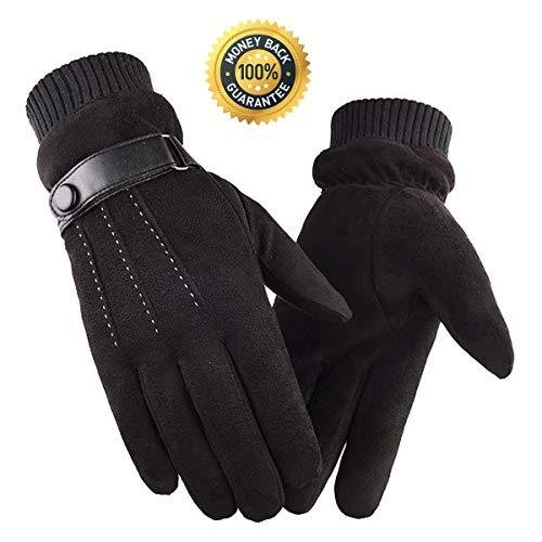 Vohoney Handschuhe Herren, Winter Touchscreen Handschuhe Warme Winterhandschuhe Sports Handschuhe Winddicht Künstliches Wildleder Handschuhe Outdoor Laufhandschuhe(Herren Winterhandschuhe Schwarz 1)