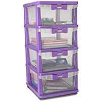 Nilkamal Hevea Chester 24 Series Plastic 4 Drawer Cabinet and Boxes (Purple )
