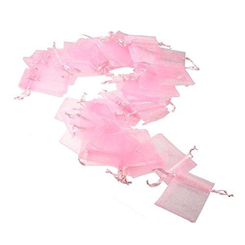 JZK® 50 x Klein rosa Organza Saeckchen Süßigkeiten Beutel Geschenk Schmuckbeutel Gastgeschenk Bags mit Drawstring, für Hochzeit Geburtstag Taufe Party Babyparty Baby Shower, 9cm x 7cm