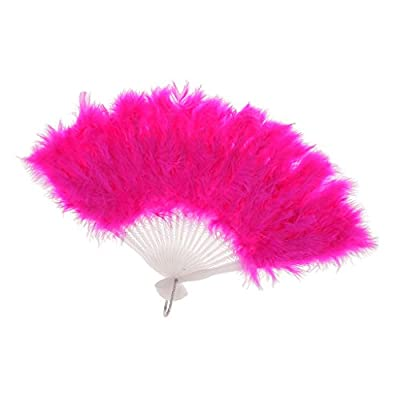 MagiDeal Fashionable Women Wedding Prom Party Supplies Dancing Props Soft Feather Fan Hen Party Folding Handheld Fan Pink