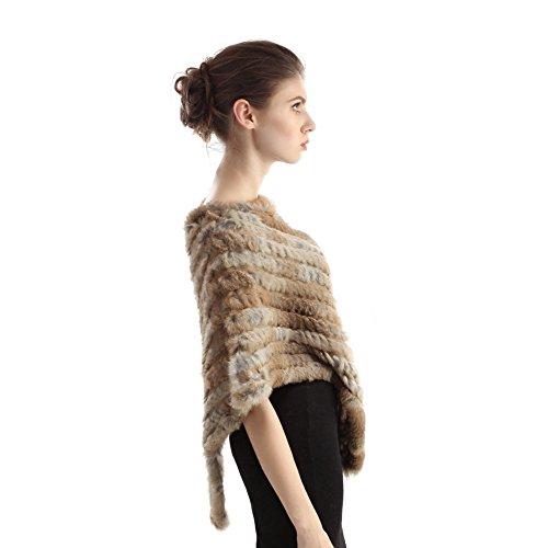 Ponchos à fourrure de lapin - Chapeau chaud à l'hiver véritable tricot fourrure Capes Coat Classic Stole Nature Marron