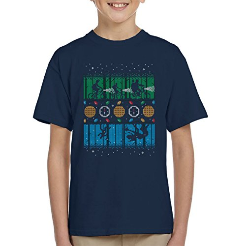 Stranger Things Upside Down Christmas Knit Pattern Kid's T-Shirt (4 Wheeler Spiele)