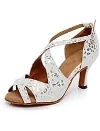 Minitoo talón de alta de mecánico de las mujeres floral suede zapatos de baile latino Salsa