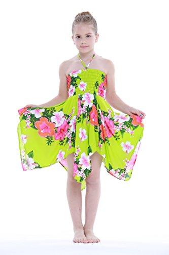 Nia-gitano-Botn-desigual-Hawaiian-Luau-vestido-en-Verde-lima-Blanco-Floral-8