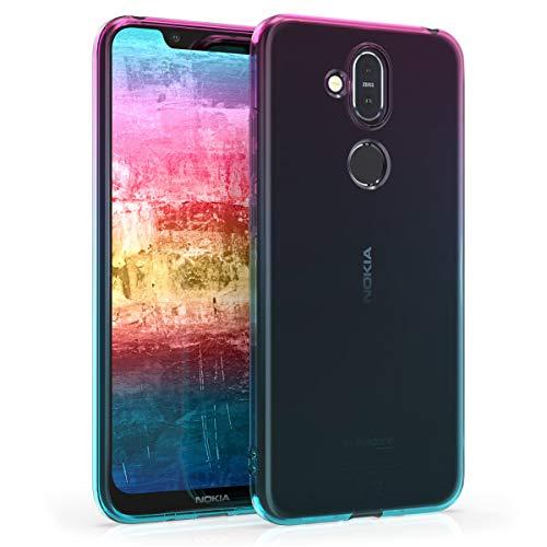 kwmobile Nokia 8.1 (2018) / X7 Hülle - Handyhülle für Nokia 8.1 (2018) / X7 - Handy Case in Zwei Farben Design Pink Blau Transparent