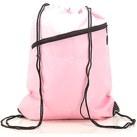 RayGar - Zaino con cordino, ampia tasca frontale con zip, slot integrato per auricolari, per scuola e palestra rosa