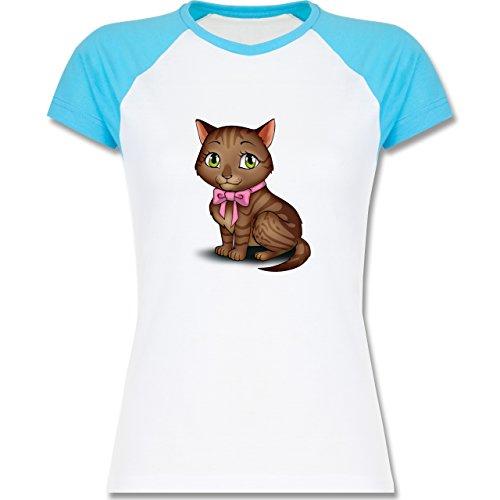 Katzen - Kätzchen mit Schleife - zweifarbiges Baseballshirt / Raglan T-Shirt für Damen Weiß/Türkis