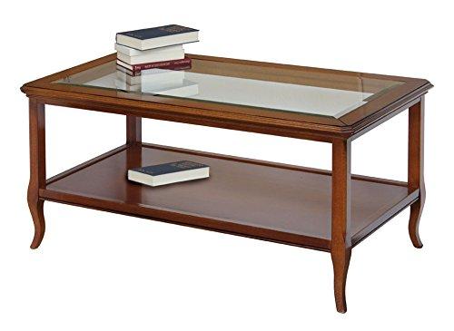 Mesa de centro rectangular con tablero de vidrio y estante, mueble ...