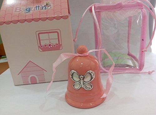 Campanellina ceramica rosa stile con placca farfallina laminata argento - cm 6,50 con scatola - made in italy