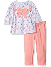 BON BEBE Baby Girls 2 Piece Top with Rear Snap Neck Opening and Legging Set