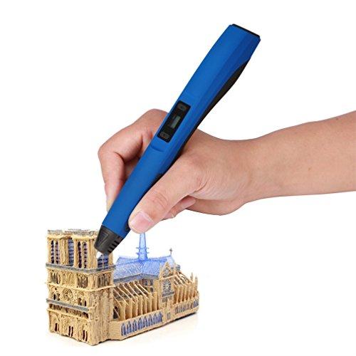 Preisvergleich Produktbild 3D Drucker Stift, LESHP 3D Drucker Pen DIY Scribbler 3D Stereoscopic Printing Pen 3D Pen Kugelschreiber Kinder Doodle Stift mit LCD Bildschirm + 3 ABS Filaments