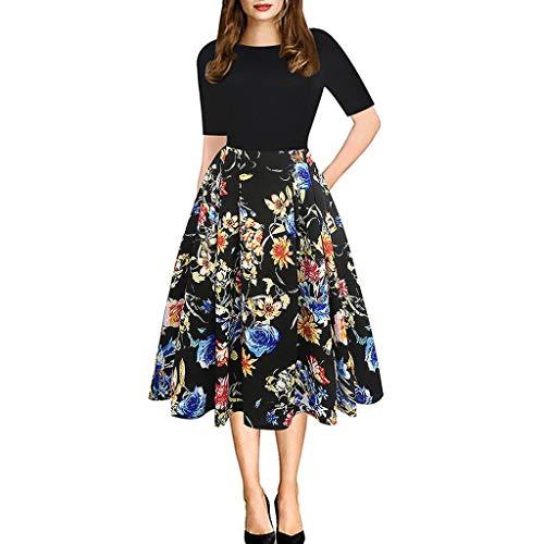 Sonojie Women Casual Elegant A-Linie Blumen Vintage Print Abend Party Vestidos Kleid (Party Kostüm Vegas Ideen)