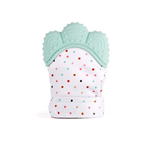 ShineGown Baby Zahnen Fäustlinge Handschuh Beruhigend Schmerzlinderung Alter 3-12 Monate BPA frei Sicheres Silikon Alle Jahreszeiten (Licht Blau, 10 x 7 x 4 cm) (Licht Schmerzlinderung)