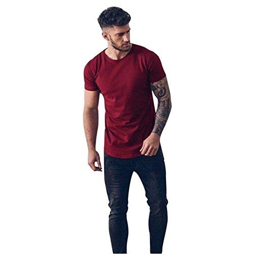 Kinlene Camisa Casual para Hombre con Cuello Redondo y Blusa con Cuello Redondo Camiseta de Manga Corta Tops musculosos(Vino Rojo,L)