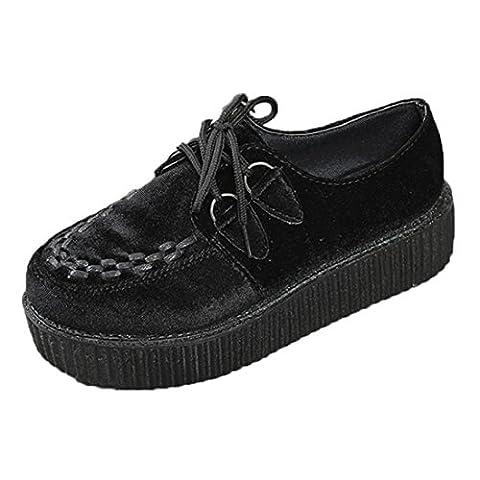 Culater® Femmes Lace Up Plateformes Chaussures Femmes Punk Creepers à lacets Baskets Chaussures (36 EU, Noir)
