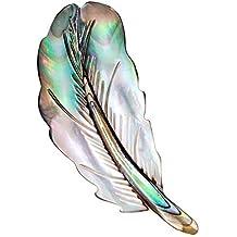 119be1874ec6 Gysad Broches Forma de pluma Broches de bisuteria baratos Concha natural Broches  para ropa mujer Elegante