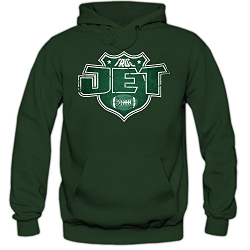 Jet #8 Hoodie | Herren | Super Bowl | Play Offs | Football Hoodies | USA | Kapuzenpullover, Farbe:Dunkelgrün (Bottlegreen F421);Größe:XL
