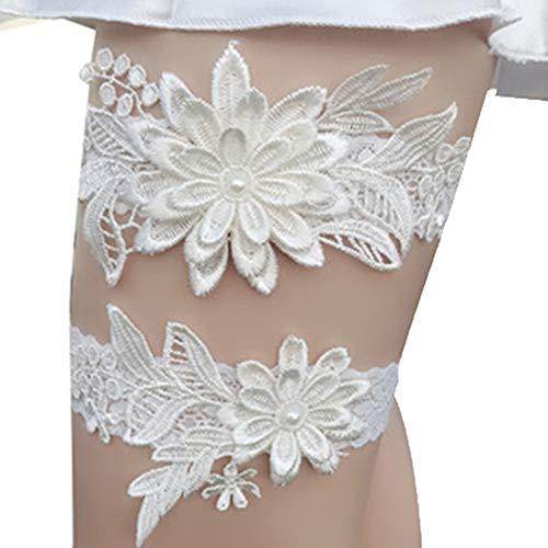 2ST Hochzeit Strumpfband Stickerei Blumen Sexy Strumpfbänder Frauen-Schenkel-Ring Brautspitze Bein Ring Schleife Beige -
