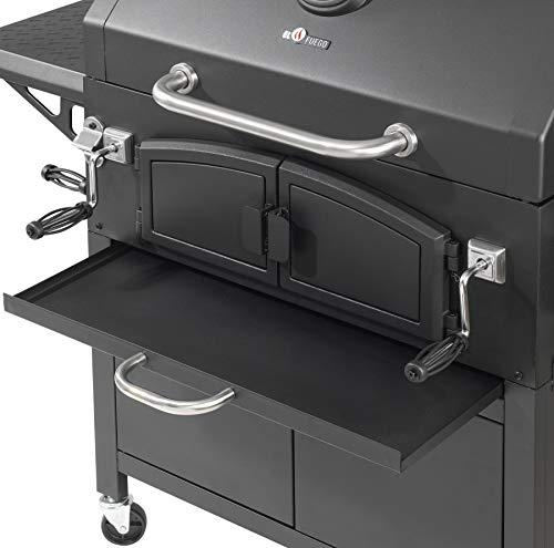 Holzkohlegrill Grand Ontario von EL Fuego® Grill Smoker BBQ Grillwagen Barbecue, mit Thermometer, inkl. Flaschenöffner, mit Warmhalterost und Ascheauffang, AY 572 - 4