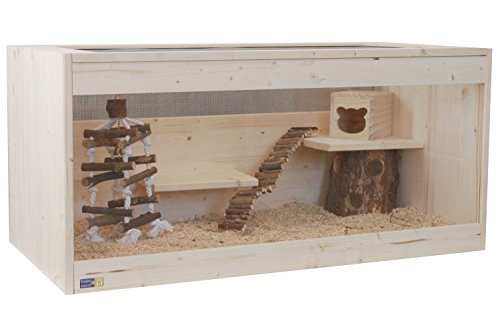 Hamsterkäfig, Mäusekäfig, Rattenkäfig, Nagerkäfig aus Natur Holz 100 x 51 x 40