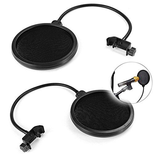 Popfilter für Mikrofon-Windschutzscheibe, für Gesang, Sprechaufnahme, runde Form, zweilagiger Maskenschutz, 2 Stück Screen Protector Guard Filter