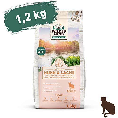 Wildes Land   1,2 kg   Trockenfutter für Katzen   Huhn und Lachs   Getreidefreie Rezeptur   Hoher Fleischanteil   In Deutschland zubereitet   Hoher Eiweißanteil   Natürliche Zutaten