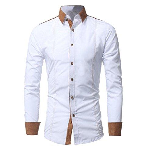 ZEZKT-Herren Herren Hemd mit Kontrasten Freizeit Slim Fit Langarm Shirts Business Bügelleicht (XL, Weiß) -
