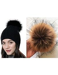 URSFUR Unisex Herbst Winter weiche und elastische Mütze aus Baumwoll mit  Bommel aus Fuchspelz Waschbär 49d6ee17a9