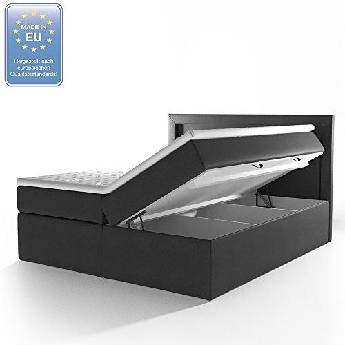 OSKAR Design Boxspringbett LED Bettkasten Bonnel-Federkernmatratze Komfortscham-TopperDoppelbett Bett Hotelbett Ehebett 180x200 cm schwarz