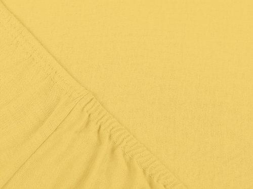 npluseins klassisches Jersey Spannbetttuch - erhältlich in 34 modernen Farben und 6 verschiedenen Größen - 100% Baumwolle, 90-100 x 200 cm, gelb - 4