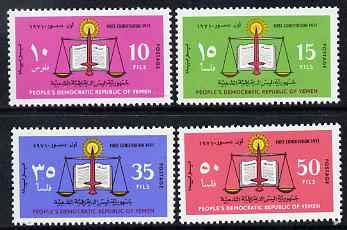 Yemen - Republic 1971 New Constitution perf set of 4 u/m, SG 68-71 CONSTITUTIONS JandRStamps (81527) -