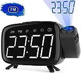 Radio Despertador, Abwei Despertador Proyector Digital Proyección 180° FM Radio Digital de Alarma Dual Snooze 6'Pantalla LED Puerto USB 12/24H EU Plug Adecuado para el Dormitorio