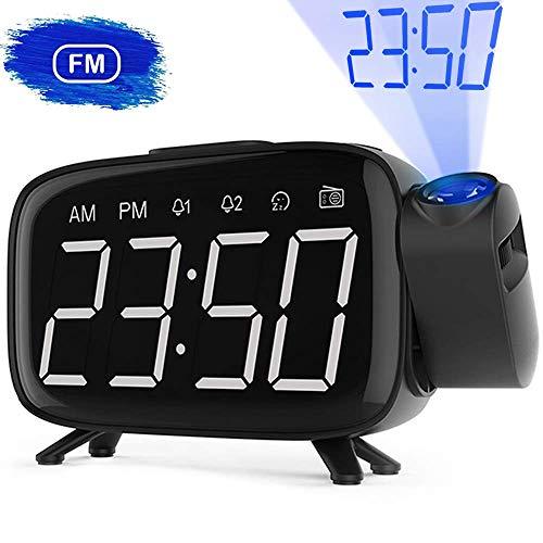 """Radio Despertador, Abwei Despertador Proyector Digital Proyección 180° FM Radio Digital de Alarma Dual Snooze 6""""Pantalla LED Puerto USB 12/24H EU Plug Adecuado para el Dormitorio"""