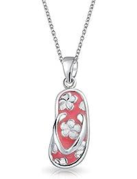 Bling Jewelry Collar con Pendiente Forma Sandalia Rosa con Flores Plata de Ley 15 Pulgadas