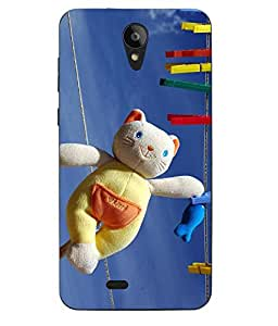 Case Cover Teddy Bear Printed Blue Soft Back Cover For Swipe Konnect Plus