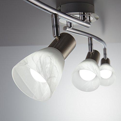 LED Decken-Strahler I 4 flammig I Schlafzimmer-Leuchte I drehbar I schwenkbar I inkl. 4 x 5 W LED Leuchtmittel l Decken-Lampe I Spot Wohnzimmerlampe I Decken-Leuchte I matt-nickel