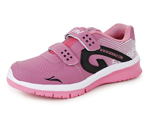 Trase SRV Walker Navy Blue - Pink Running / Sports Shoes for Women / Girls ( with twin Hook & Loop Fastner)
