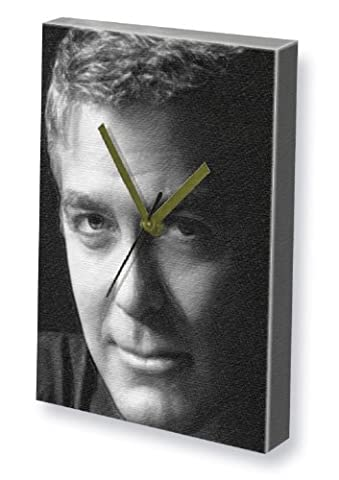 GEORGE CLOONEY - Canvas Clock (A5 - Signed by the Artist) #js004