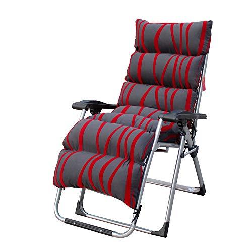Axdwfd Liegestuhl Liegestuhl, Klappbar Mittagspause Stuhl Bürostuhl Schwangere Frau Ältere Hause Balkon Lounge Chair Tragbarer Strandstuhl 180x66x82 (Farbe : Stripe red)