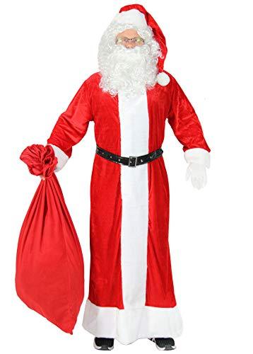 Foxxeo 5-teiliges Premium Weihnachtsmann Kostüm mit Mantel für Herren - Größe XXXL-XXXXL