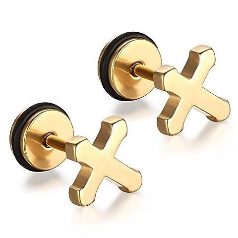 vnox Jewelry Herren Edelstahl vergoldet Kreuz klein Ohrstecker mit Schraubverschluss (Swarovski Sapphire Kreuz)