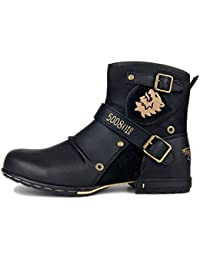 23a53f0aca5 Botas para Moto Botines Hombre Invierno Zapatos Nieve Piel Forradas  Calientes Planas Combate Militares Martin Boots