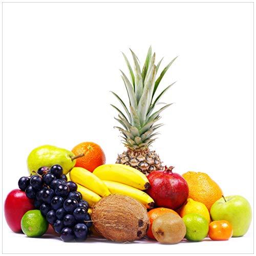 Wallario Acrylglasbild Gemischtes Obst aus Aller Welt - Exotische Obstsammlung - 50 x 50 cm in Premium-Qualität: Brillante Farben, freischwebende Optik