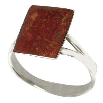 Chic-red de anillo de plata 925 rectangular polarmk, coral Plata esterlina Anillo de plata anillos de coral