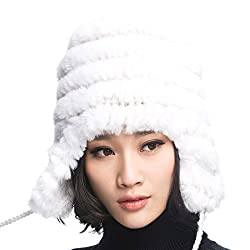 URSFUR Womens Rex Rabbit Fur Hats Winter Ear Cap Flexible Multicolor (White)