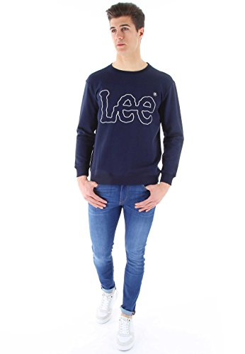 Lee Herren Sweatshirt Outline Logo Sws Blau (Faded Red QDSG)