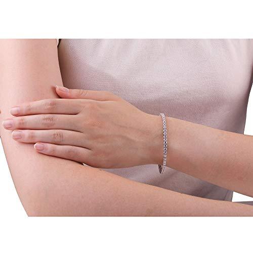 Eternity White Sapphire Platinum plated Silver Tennis Bracelet 7.5 Inch