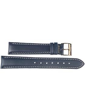 14 mm KAISER Uhren Lederband Uhrenarmband Lederuhrband Dunkelblau 14 mm Schliesse: gelb